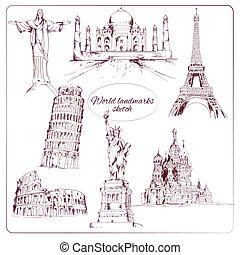 World landmark sketch set of eiffel tower kremlin statue of...