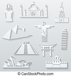 World landmarks, abstract flat paper icons set - Moai, Taj...