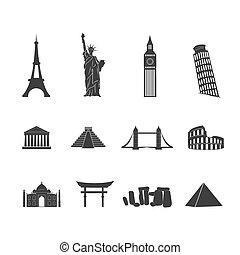 World landmarks black and white icons set