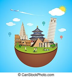 World landmarks concept. Vector illustration for travel...