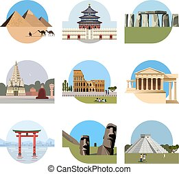World landmarks flat icon set. Vector travel illustration....