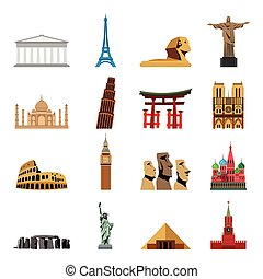 World landmarks flat icons