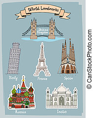 World Landmarks hand-drawn icons set with Tower Bridge in UK...