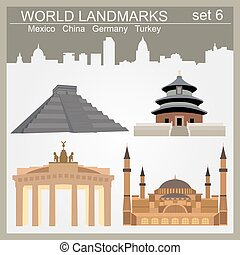 World landmarks icon set. Elements for creating...