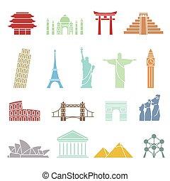 World landmarks icons, abstract set