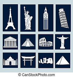 World landmarks, icons set