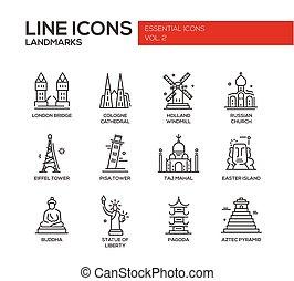 World landmarks icons set - Set of modern vector plain line...