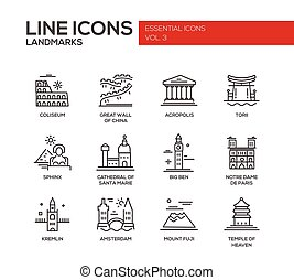 World landmarks icons set - Set of modern vector simple...