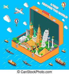 World Landmarks In Suitcase Isometric Poster - World famous...