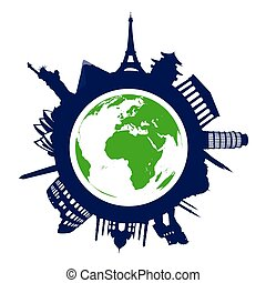 world landmarks - landmarks of the word on the white...