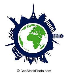 world landmarks - landmarks of the word on the white...