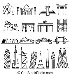 World landmarks outline icons
