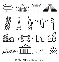 World landmarks outline icons set