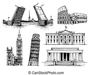 World landmarks set isolated on white background