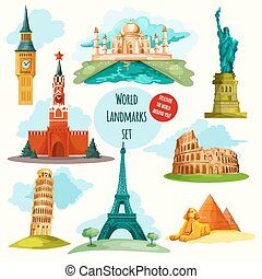 World Landmarks Set - World landmarks decorative icons set...