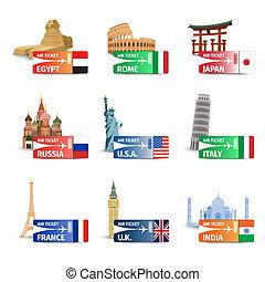 World landmarks ticket set - World famous landmarks with...
