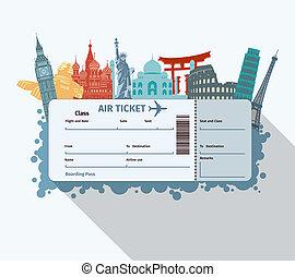 World landmarks ticket - Airplane travel ticket with world...