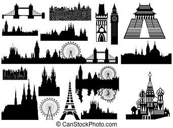 world landmarks - vector - Various landmarks - London,...