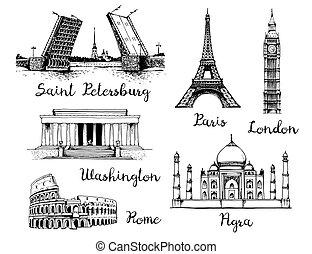 World landmarks vector set