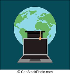 learning online education - world laptop graduation cap...