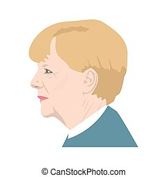 November 11, 2017 Editorial illustration of a portrait of Chancellor of Germany Angela Merkel on isolated background