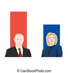 November 19.11.2017. Editorial illustration is showing a rating of popularity of well-known politicians the Vladimir Putin and Hillary Clinton.