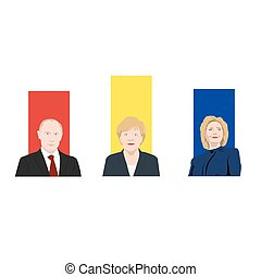 November 19.11.2017. Editorial illustration is showing a rating of popularity of well-known politicians the Vladimir Putin, Angela Merkel and Hillary Clinton.