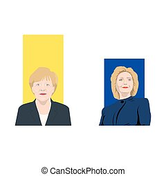 November 19.11.2017. Editorial illustration is showing a rating of popularity of well-known politicians the Angela Merkel and Hillary Clinton.