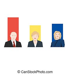 November 19.11.2017. Eeditorial illustration is showing a rating of popularity of well-known politicians the Vladimir Putin, Angela Merkel and Hillary Clinton.