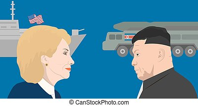 02.12.2017 Editorial illustration of Hillary Clinton and Kim Jong-un portraits. USA and North Korea relations.