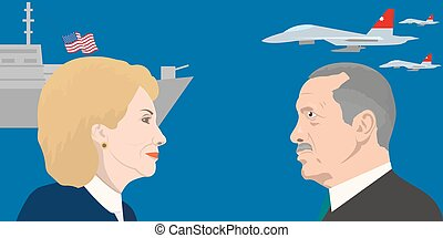 02.12.2017 Editorial illustration of Hillary Clinton and Recep Erdogan portraits. USA and Turkey relations.