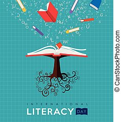 World Literacy Day book tree concept for education