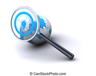 earth and magnifying glass with target image is isolated over a white background
