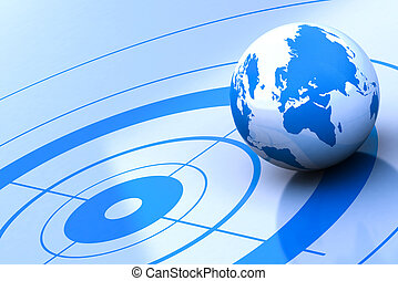 world location - earth and target, blue background