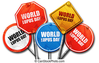 world lupus day, 3D rendering, street signs