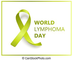 World lymphoma day isolated banner with green ribbon symbol ...