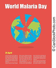World Malaria Day. Poster for international holiday of April 25. Planet earth and silhouette of malaria mosquito