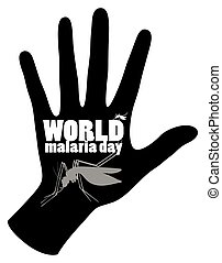 World malaria day poster with mosquito and hand