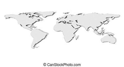 World Map 1 - 3D Illustration. An abstract Worldmap.