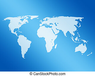 world map 3d - 3D world map on a blue white background