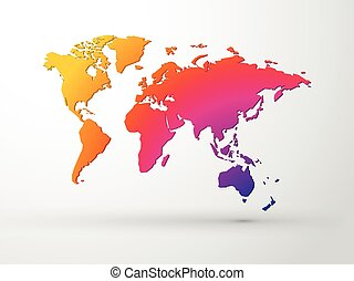 world map 3D color vector