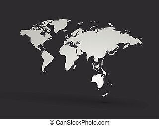 world map 3D polygon vector