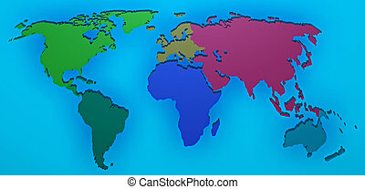 3d map rendered of europa africa asia oceania and russia over a world map 3d render with the different continents gumiabroncs Image collections