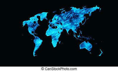 World map 3D render