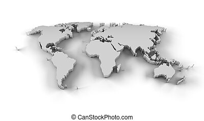 World map 3d white clipping path high resolution world map stock world map 3d silver high resolution gumiabroncs Choice Image
