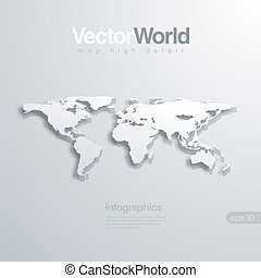 World map 3D vector illlustraion. Useful for infographics