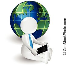 World map and 3d white people man talking on smartphone - 3d...