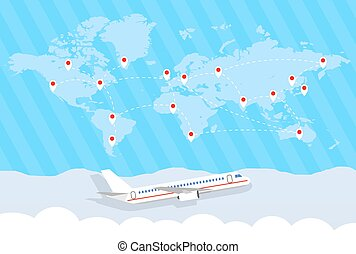 world map and airplane