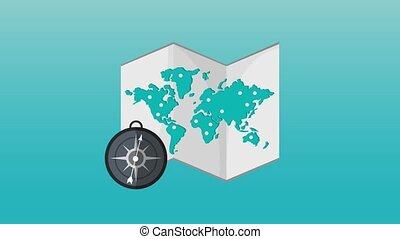 World map and compass HD definition - World map and compass...