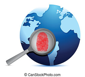 World Map and fingerprint under a magnify glass